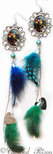 ★ Feathers & Poison - Fjäderörhängen - Parrots Deluxe Fjäderörhängen