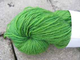 Hand dyed sock yarn green