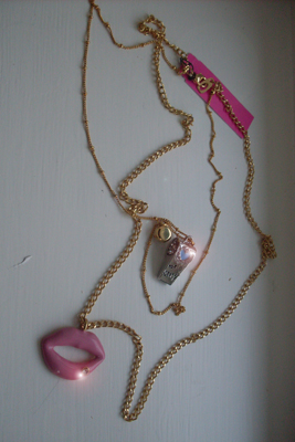 Betsey Johnson necklace lips and whistle.