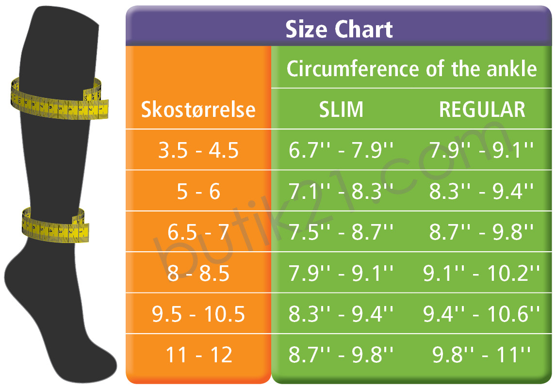 Compression socks ankle - Size chart