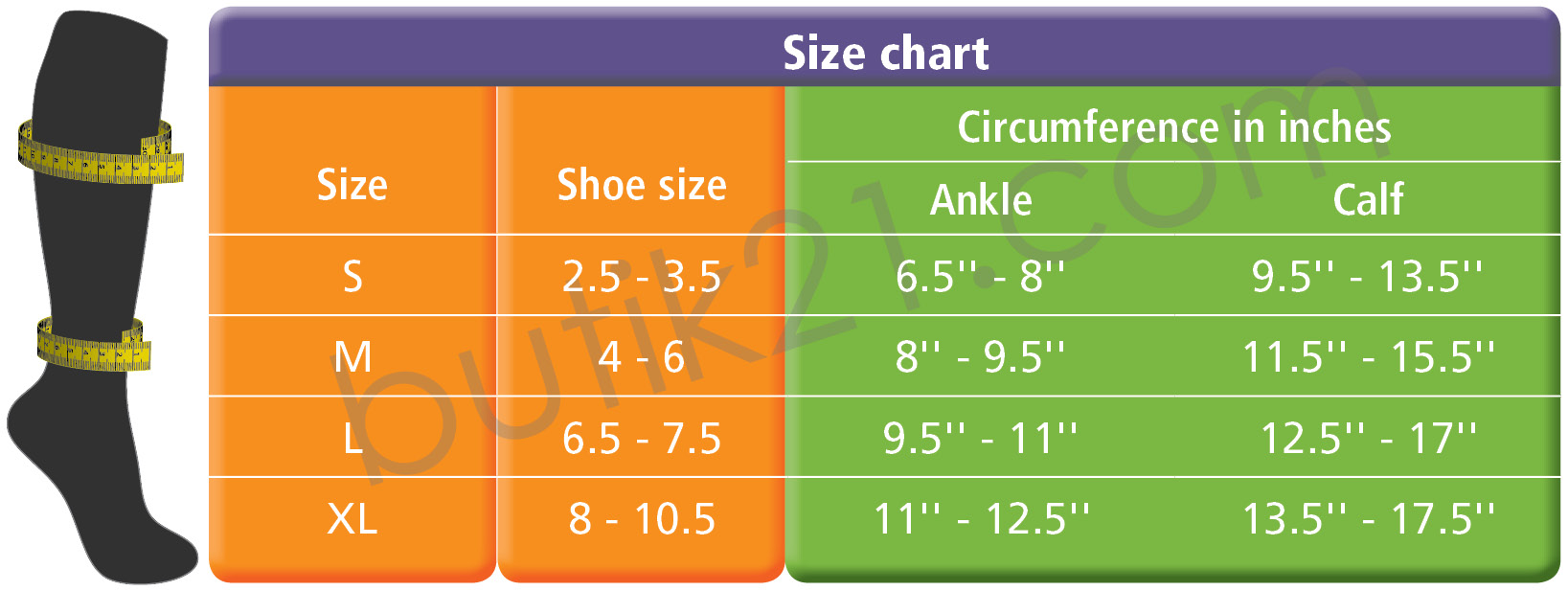 Size chart compression socks