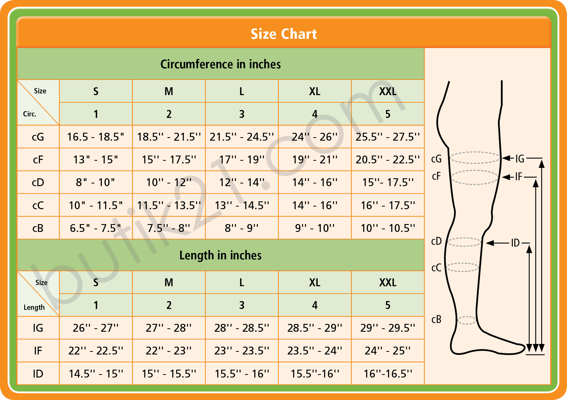 Size chart compression leggings