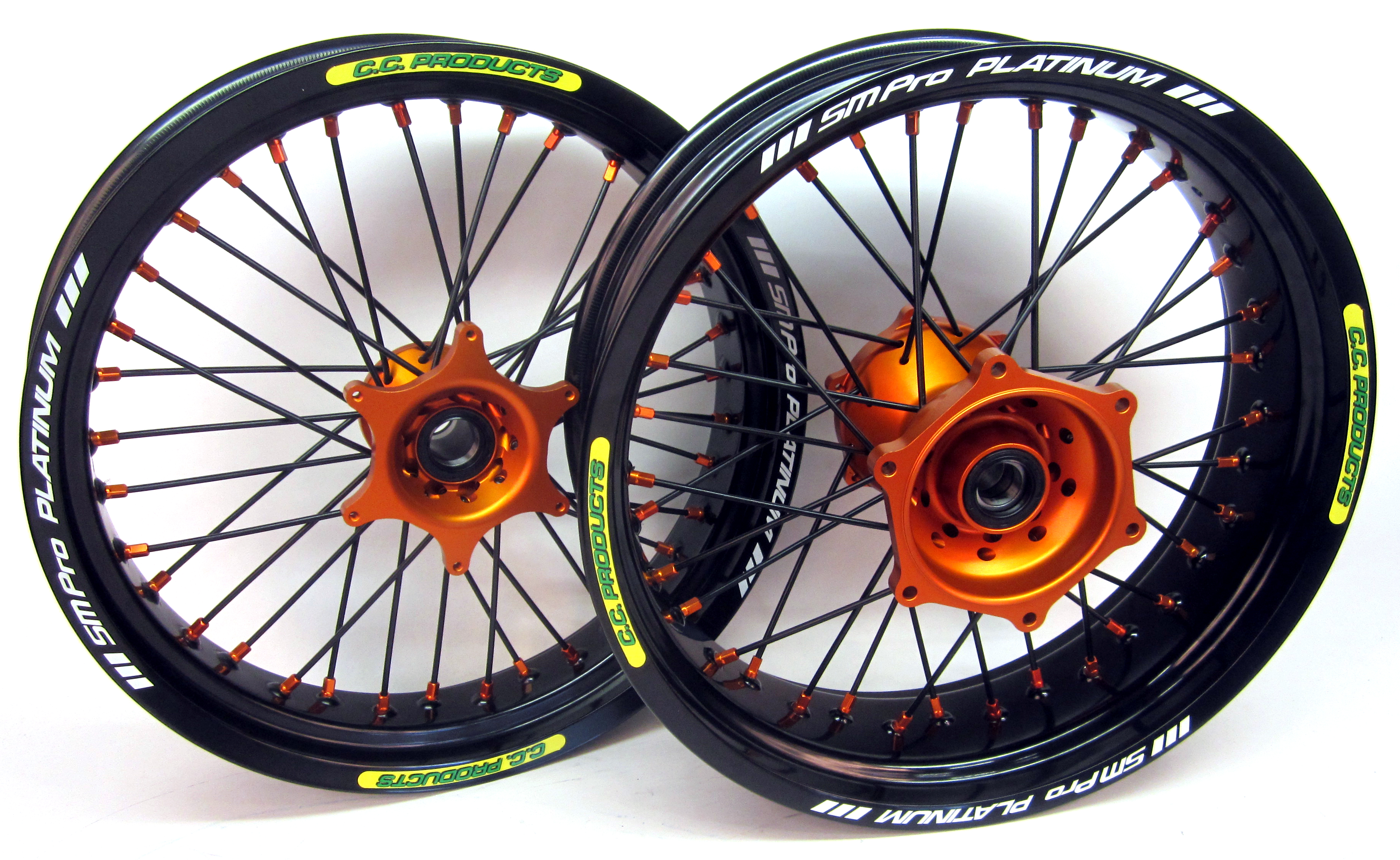 CC KTM Wheel Set 17 inch - orange hub - black spokes - orange nipples - black rim