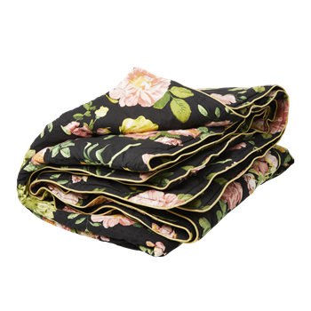 Quilt - Black with pink flower
