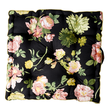Floor cusion - Black with pink flower