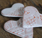Ceramic heart with a lace pattern