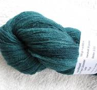 Hand dyed thin lace yarn of Blue Face Liecester greenblue