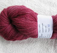 Hand dyed thin lace yarn of Blue Face Liecester redpink