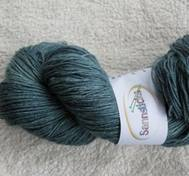 Hand dyed sock yarn silk greenblue