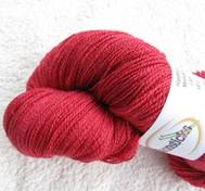 Hand dyed thin lace yarn of merinosilk red