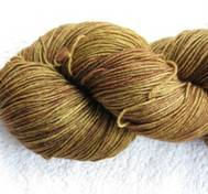 Hand dyed sock yarn yellowbrown