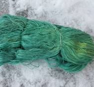 Hand dyed thin Silk green
