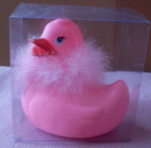 Fluffy pink  duck to have when you bath