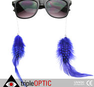 Nice sunglasses with blue feathers.