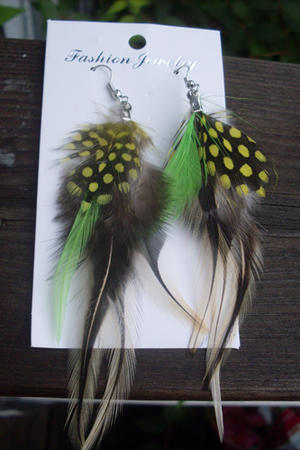 Cool feather earrings in green.