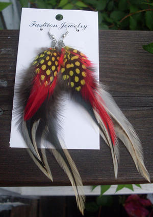 Cool feather earrings in red.