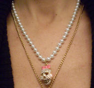 Betsey Johnson necklace skulls and pearls.