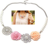 Fashion vintage necklace with flowers.