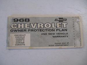 1968 Chevrolet Owners Protection Plan