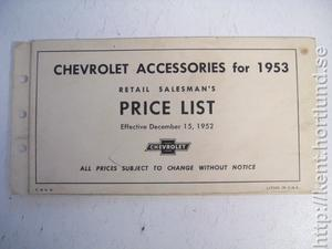 1953 Chevrolet Accessories Price List