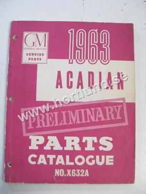 1963 Chevrolet Acadian Preliminary Parts Catalogue No. X632A
