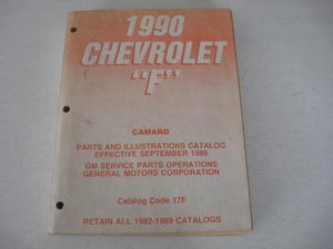 1990 Chevrolet Camaro Parts & Illustration Catalog