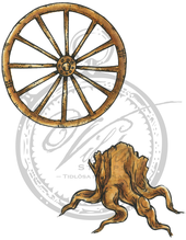 Stump and wagonwheel