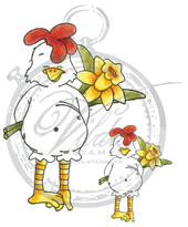 Large and small chicken with flower
