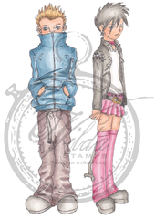 Boy with hands in pocket + boy/girl