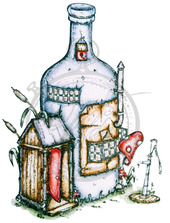 Bottle house with small garden pump