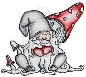 Sleeping gnome among mushrooms