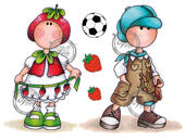 Boy with slingshot and Strawberry girl