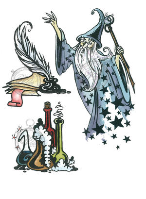 Wizard with potions and feather pen