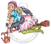 Girl on a broom