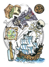 Ship, treasure, coin, pirate boy, bottle, map (A6)
