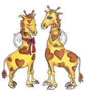 Giraff girl with boy