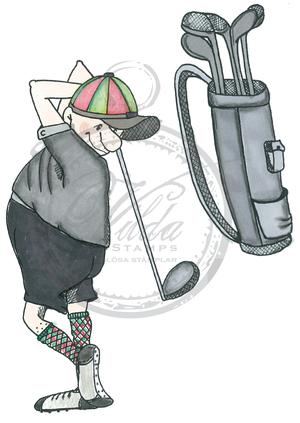 Golfpalyer with golfbag