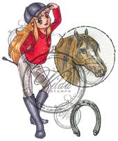 """Rider """"Hannah"""", Horsehead and horseshoe"""