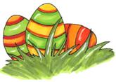 Påsk-ägg i gräset