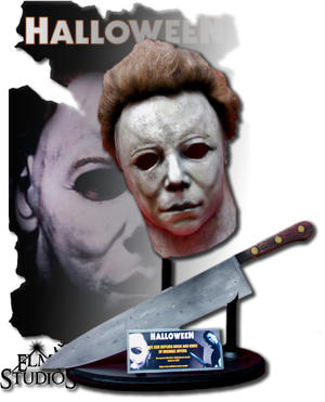 Michael Myers mask and knife.