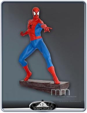 Spiderman comic figure with stone base