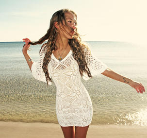 Handmade crochet loose sleeve dress WHITE