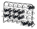 24 bottle wine rack black steel