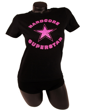 HARDCORE SUPERSTAR - LADY T-SHIRT, PINK LOGO