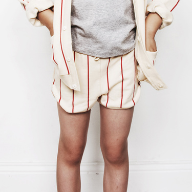 SIRACUSA SWEAT STRIPE SHORTS WHITE/RED