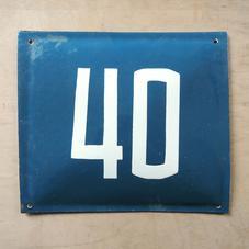Old blue enamel sign number 40