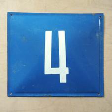 Old blue enamel sign number 4