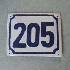 Old enamel sign number 205