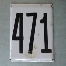 Big old enamel sign number 471