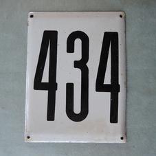 Big old enamel sign number 434